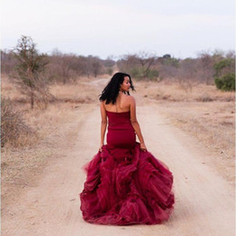 pictures wine red wedding dress 2019 - Burgundy Mermaid Wedding Dresses Wine Red Strapless Backless Long Bridal Party Gowns Plus Size vestidos de novia sirena