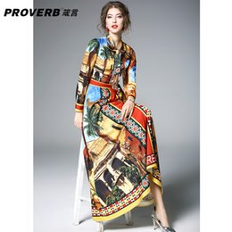 PROVERB runway fashion designers 2018 maxi dress building print Pressure  Pleated bow Necktie tunic plus size XXL long dress 1c6df48df982