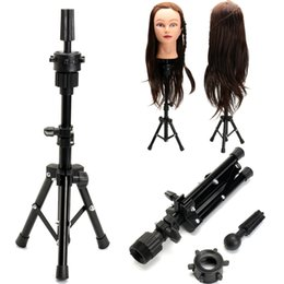 Heads for wigs online shopping - Adjustable Hairdressing Wig Tripod Stand Holder For Mannequin Head Cosmetology Manikin Training Head Hair Wig Mold Clamp Black