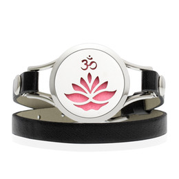 $enCountryForm.capitalKeyWord NZ - New Arrival OM Yoga Lotus 25 30mm 316L Stainless Steel Essential Oil Diffuser Locket Black Leather Band Bracelet With 10 Free Pads