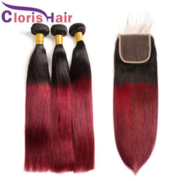 straight dark red hair 2019 - Wine Red Ombre Human Hair Bundle With Lace Closure Dark Root 1B 99J Straight Raw Indian Peruvian Virgin Hair Weaves Colo