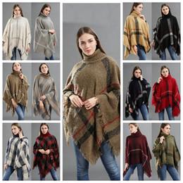 12styles Plaid Poncho Tassel Shawl Трикотажное пальто Женщины зима теплый Тартанский свитер Wrap Fashion Cardigan Cloak Vintage Одеяло Шарф FFA1018