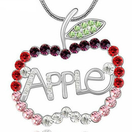 Necklaces Crystal Apple Australia - Longer Sweater Chain Necklace Pendant Apple Austrian Crystal Fashion Accessories For Women Trendy Jewelry White Gold Plated 3594