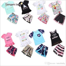 Discount girls ruffle pant suits - Baby Clothing Sets Summer Girls Stripe T Shirts Pants Suits Floral Short Sleeve Tops Shorts Outfits Short Sleeve Tassel