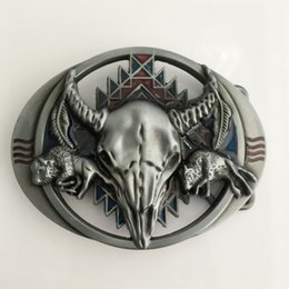 fit bull 2018 - 1 Pcs 3D Silver Wolf Bull Head Cowboys Belt Buckle Woman Man Jeans Jewelry Accessories Metal Belt Head Fit 4cm Wide Belt