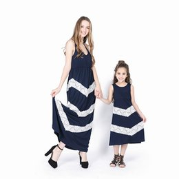 Wholesale dress splicing resale online - 4 Colors Mother Daughter Matching Dresses Summer Solid Color Splicing Lace Sling Long Dress Mommy and Me Family Matching Outfits M049