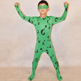Catsuit Zentai Lycra Spandex Costumes Australia - Children Halloween Green Lycra Spandex Mr. Question Zentai Catsuit Cosplay Kid Halloween Costume