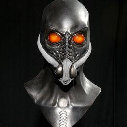 Discount aliens props - black Alien with oxygen hood mask Aliens Costume Mask cos Halloween Creative hrror maske latex props Party Supplies