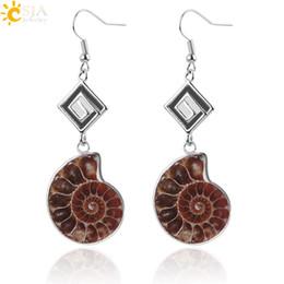 $enCountryForm.capitalKeyWord UK - CSJA Natural Stone Pendant Dangle Hook Earring for Women Ammonite Spiral Whorl Conch Shell Fossils Earrings Girls Jewelry E246