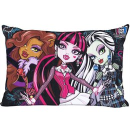 plains prints UK - Custom Monster High New Arrival Pillowcase 45x35cm(One Side) Rectangle Zipper Print Throw Wedding Decorative Pillowcase Cover Pillow Case