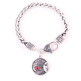 fashion jewelry charm bracelet NZ - Hot Sale Viking Bracelet Moon And Stars Pattern In Charm Female Male Jewelry Fashion Wheat Link Chain Zinc Alloy Provide Dropshipping