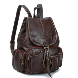 Brown School Bags Canada - New Vintage Women Backpack for Teenage Girls School Bags Fashion Large Backpacks PU Leather Black Bag Brown