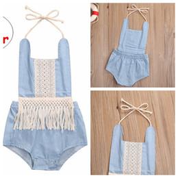 $enCountryForm.capitalKeyWord Canada - Infant Girls Summer Romper Baby Blue with fringe Jumpsuit Kids Sleeveless Tassel Sunsuit Cloth for 0-3T