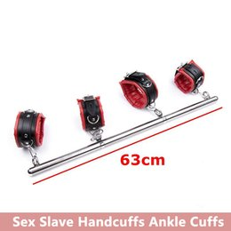 ankle spreader NZ - 2018 Metal Adjustable Spreader Bar Bondage Set Unisex Sex Slave Handcuffs Ankle Cuffs Fetish Restraints Shackles,Sex Toys For Couples