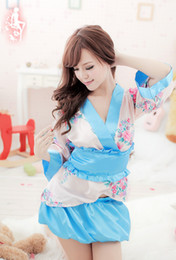 Wholesale japanese sexy cosplay girls for sale - Group buy Japanese kimono traditional girls Geisha cosplay sexy bathhouse womens females suits cosplay sexy light blue flower cos Costume