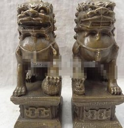 lighted dog ball 2018 - Chinese Bronze Wealth FengShui Protect Foo Fu Dog Lion Ball Statue Pair cheap lighted dog ball