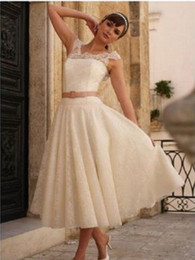 sexy beach wedding reception dress NZ - Hot Selling A line Jewel Ankle Length Ivory Lace Bow Belt Short Beach Wedding Dresses Sleeveless Low Back Wedding Reception Dresses