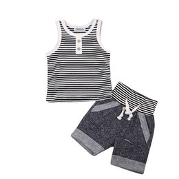 Baby Boy Vest Outfits Canada - Summer Baby Boy Clothes Set Cotton Vest Sleeveless T shirt Tops + Short Pants 2pcs Infant Boys Outfits Striped Button Boys Clothing Sets