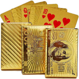 $enCountryForm.capitalKeyWord NZ - Waterproof Plastic Dollar EUR Gold Edition 24K Carat Magic card Gold Foil Playing Cards Plated Poker Game Playing Cards Gift Foil Table Game