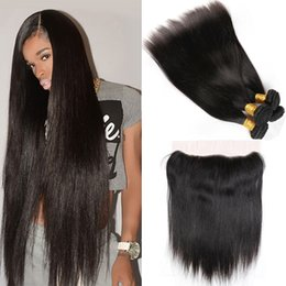$enCountryForm.capitalKeyWord Australia - Peruvian Human Hair Lace Closure with Hair Bundles Virgin Straight Hair Extensions with 13x4 Lace Frontal Free Part 8-20inch In Stock