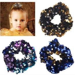 Wholesale Fashion Sequins Elastic Hair Band Hair Ropes with Girls No Crease Hairs Ties Ponytail Hairband Hair Accessories Ornament Rings