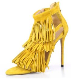 sandals for girls floral UK - summer Style Tassel suede women sandals thin high heels back zip dress party shoes for women and girl grey yellow pumps