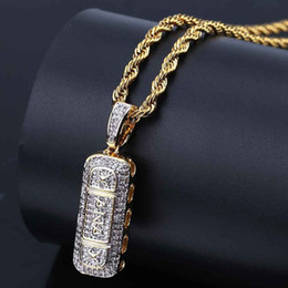 id gold NZ - Hip Hop Iced Out Gold Color Plated Micro Paved Zircon Pill ID Bar Square Pendant Necklace Bling Jewelry for Women Girl