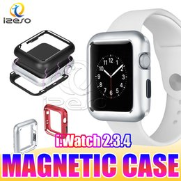 Wholesale Magnetic Adsorption Bumper Case for NEW Apple Watch Series mm mm mm mm Ultra Slim Full Covered Metal Frame Cover