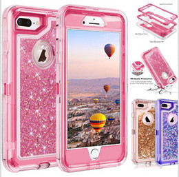 Wholesale waterproof for iphone resale online - Bling crystal Liquid glitter protect Designer Phone Case robot shockproof non waterproof back cover for new iphone Note