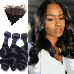$enCountryForm.capitalKeyWord Australia - Loose Wave 3pcs Hair Bundles with 13x4 Lace Frontal Malaysian 100% Unprocessed Human hair Extensions Fast Shipping LaurieJ Hair