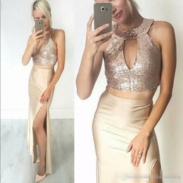 gold one shoulder maxi dress NZ - Rose Gold Champagne Prom Party Dresses 2018 Modest Two Pieces Keyhole Neck Sexy Split Cheap Maxi Occasion Evening Wear Dress