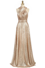 Chinese  Sparkly Convertible Gold Sequins Bridesmaid Dresses A-line Long Maid of Honor Dresses Wedding Party Gowns manufacturers