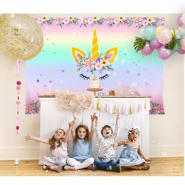 Chinese  Unicorn Birthday Party Photography Backdrops Newborn Baby Shower Photo Background Rainbow Flower Love Backdrop for Photo Studio manufacturers