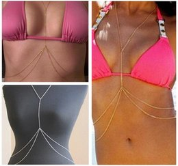 Discount double belly chain - 550pcs 2 colors sexy Belly Chains Body Belly Waist Chain Bikini Beach Harness Necklace Women Double Layer Body Chains R1