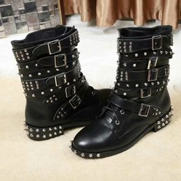 Belted Boots NZ - Popular Woman New Style Real Leather Belt Buckle Ankle Boots Autumn Winter Metal Rivet Belt Handsome Leather Martin Boots Rivet Lace Up Boot