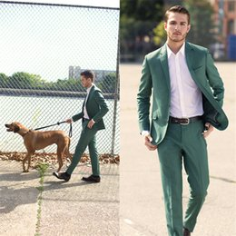 Dark Green Tie Grey Suit Australia - 2018 Summer Custom Made Green Mens Suit Dress Best Terno Slim Fit Wedding Terno Masculino Blazer 2pieces (Coat+Pants+Tie)