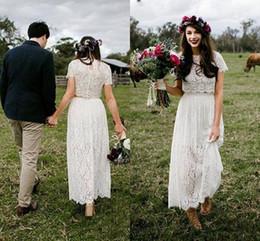 $enCountryForm.capitalKeyWord UK - Two Pieces Beach Wedding Dresses 2018 Vintage Retro Short Sleeves Ankle Length Lace Floral bohemian boho short Bridal Gowns Cheap