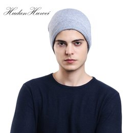 e307133fd73d Winter Warm Beanies For Men Solid Colour Cap Outdoor Bonnet Skiing Hat Soft  Acrylic Cotton Slouchy Knitted Hat HXMDC