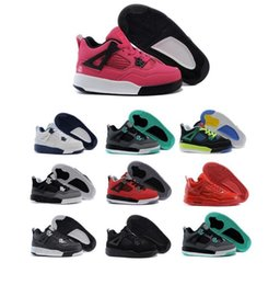 Baby Shoes Red White Australia - New Kids Basketball Shoes 4 Boys baby Sneakers red black white blue Children Sports IV 4s trainers 2017 wholesale box size 28-35