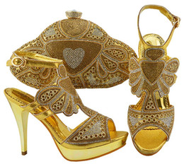 123ac47ba48a Hot sale gold women pumps with crystal and rhinestone african shoes match  handbag set for dress JZC004