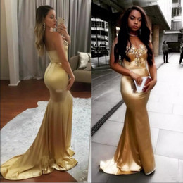 StrapleSS Silk gown online shopping - Gold Mermaid Prom Dresses With Sweetheart Beads Sequins African Evening Wear Back Zipper Cheap Party Gowns Vestidos Festa