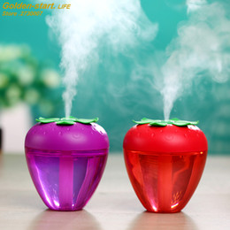Car Incense NZ - 180ML Cute Strawberry Humidifier for Home Car Mist Maker Fogger with LED Light Mini USB Humidifier Air Purifier Fresher Atomizer