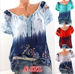 $enCountryForm.capitalKeyWord Australia - 2018 summer hot tops V-neck printed lace short-sleeved T-shirt women, foreign trade Europe and the United States new