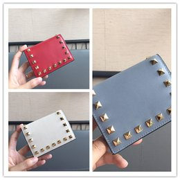 f530f8fb20f7 Women luxury small wallets studded rivets coin purse ladys pocket girls  card holder high quality money bag Genuine leather designer handbag