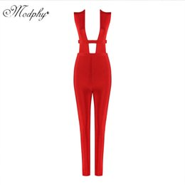 $enCountryForm.capitalKeyWord Australia - High quality women fashion 2018 sexy elegant red hollow out bandage evening jumpsuits winter dropship wholesale UP033