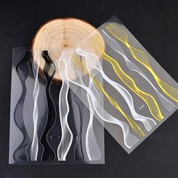 $enCountryForm.capitalKeyWord Australia - Pandahall One Piece Wave Gold Black 3d Adhesive Metal Nail Stickers Decals DIY Charm Design Nail Art Decorations