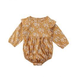 Flor de la vendimia recién nacido bebés bebés ropa de manga larga mamelucos mono otoño nueva ropa de niña en venta