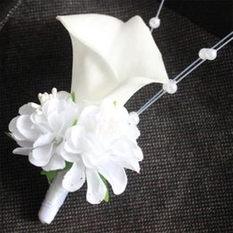Calla brooCh online shopping - earl corsages White calla lily flower pearls Corsage Groom groomsman Wedding party Man suit men Boutonniere Prom pin brooch Hot Lapel Flo