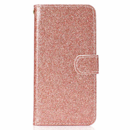 Para Redmi 5 Note 5A Bling Glitter Billetera de cuero para Iphone XR XS MAX X 10 8 7 S10 S10e Sparkly Luxury Flip Cover Sparkle Shiny Correa