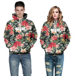 $enCountryForm.capitalKeyWord Canada - Wholesale free shipping Fashion Men Women Pullover 3D Hoodies Flowers Green Leaves Print Sweatshirts With Hoody Couples Streetwear